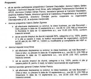 Cheltuieli deplasare Valeriu Zgonea la Oslo. Sursa: Parlamentul României